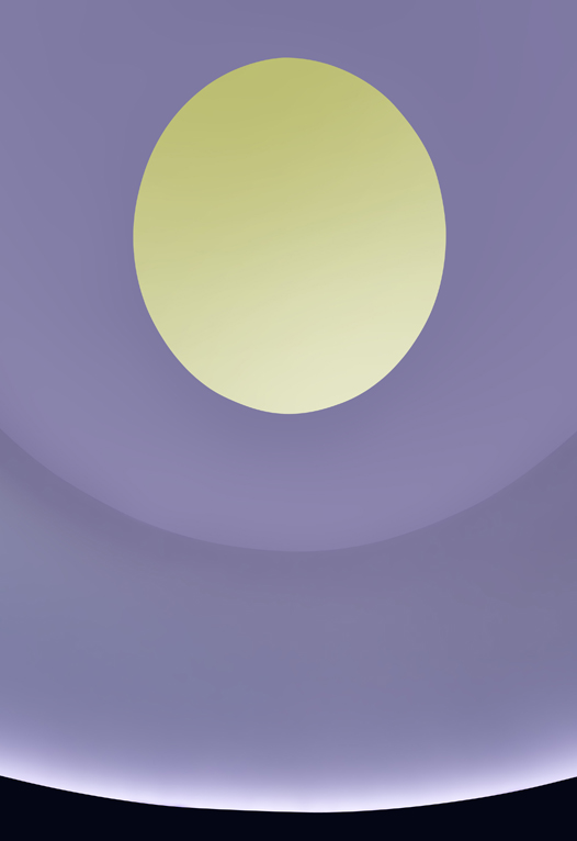 Photo of the ceiling colored with orange lights and a deep blue oculus.